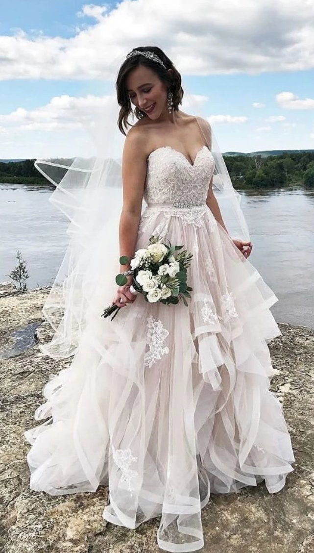 Ball Gown Tiered Skirt Wedding Dress - daisystyledress