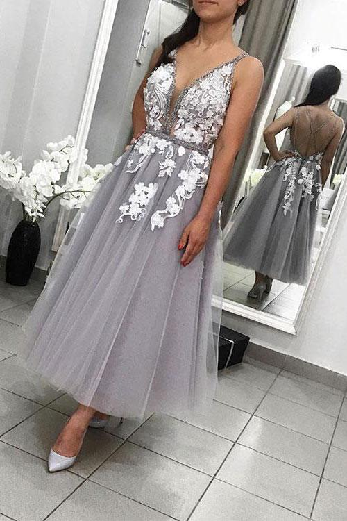 Ankle Length Vintage Silver Party Dress - daisystyledress