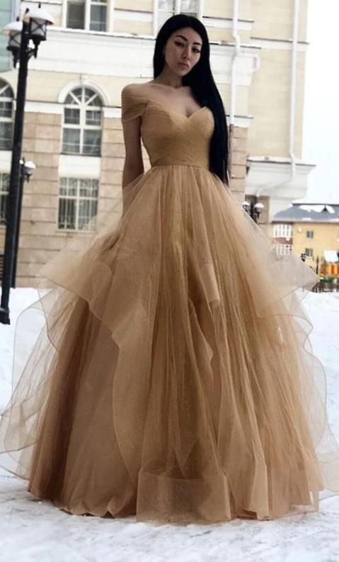Off Shoulder Sleeves Champagne Evening Dress - daisystyledress