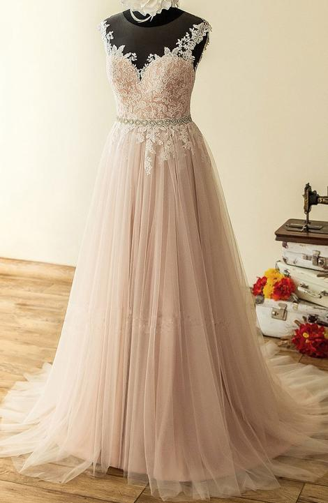 Blush Lace and Tulle Wedding Dress - daisystyledress
