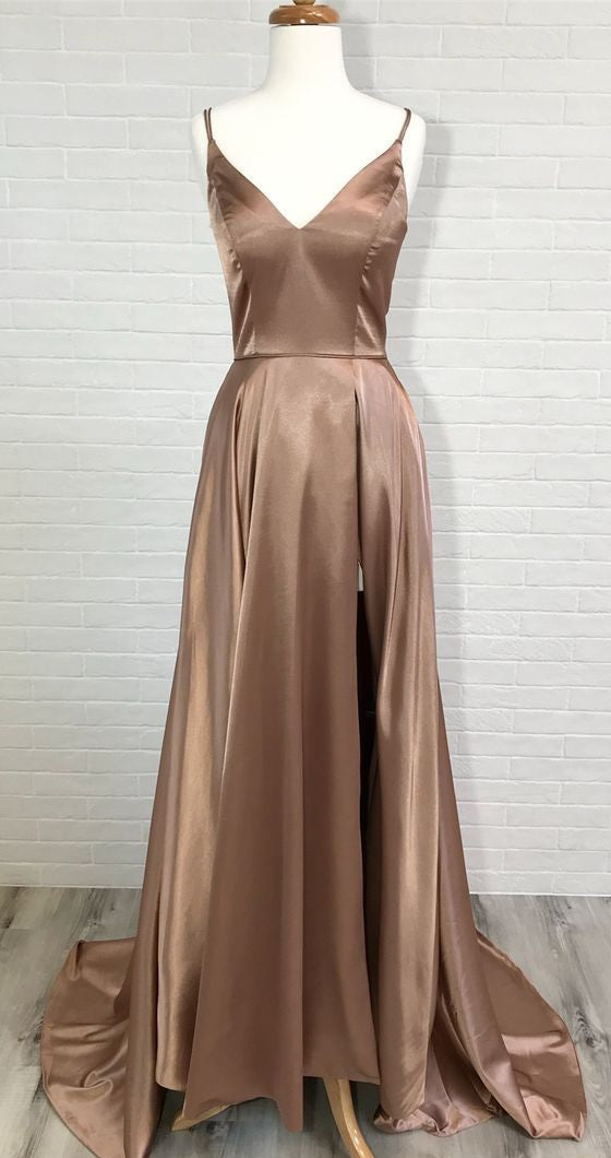 Sexy Slit Coffee Brown Prom Dress