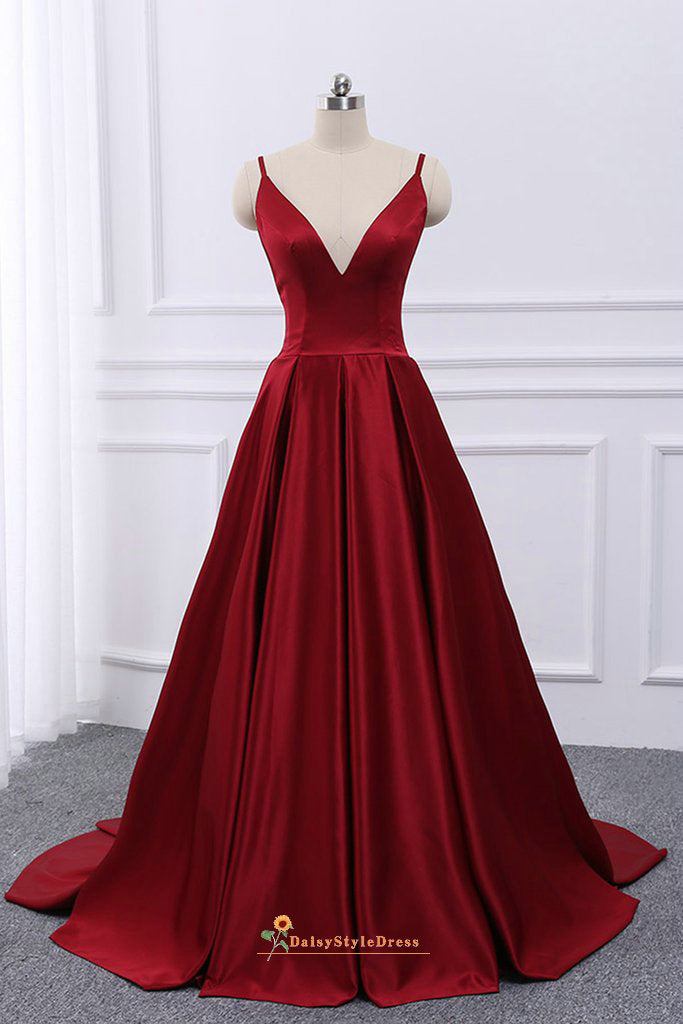 deep red prom dress