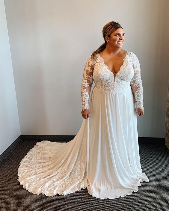 Long Lace Sleeve Plus Size Wedding Dress