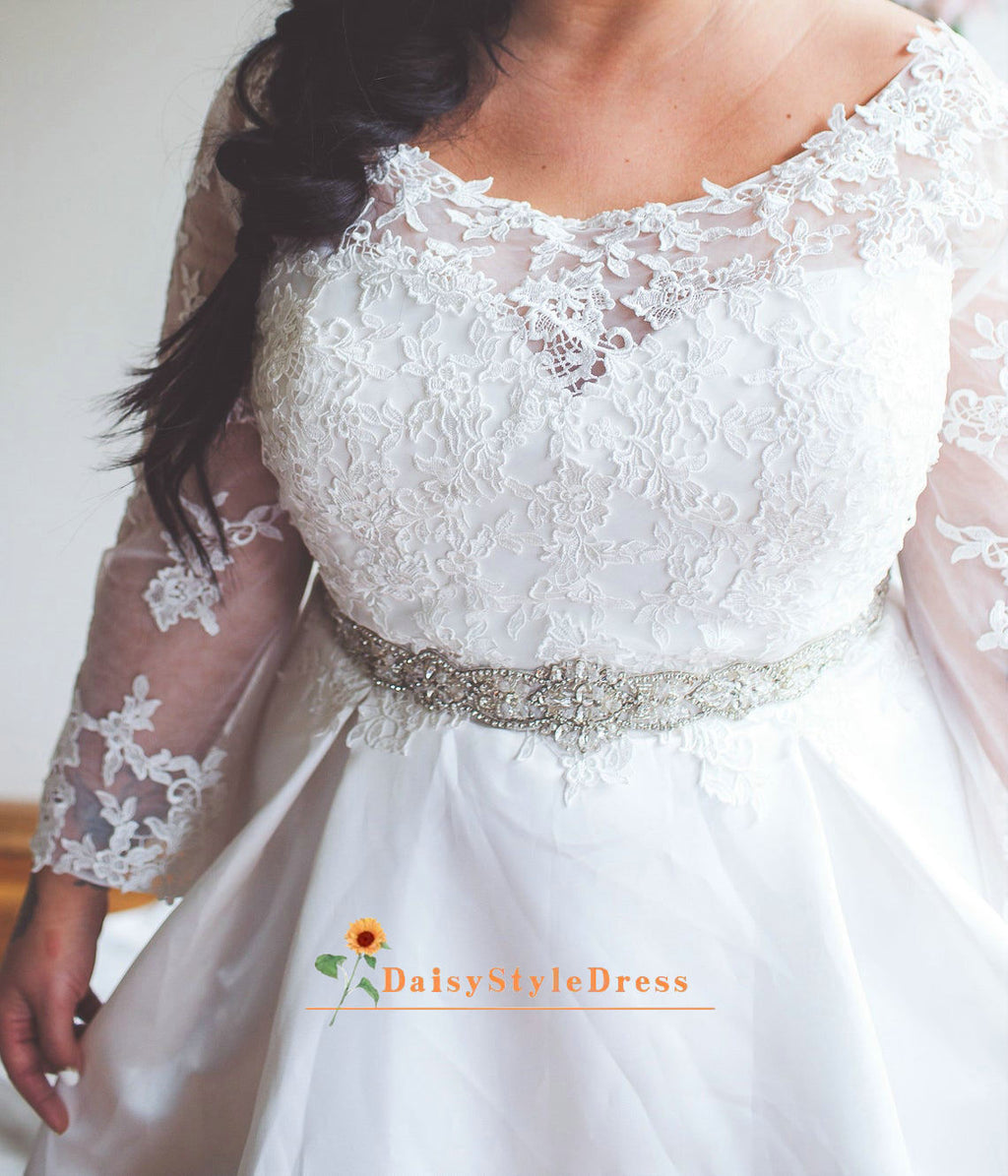 Modest Long Sleeve Plus Size Wedding Dress