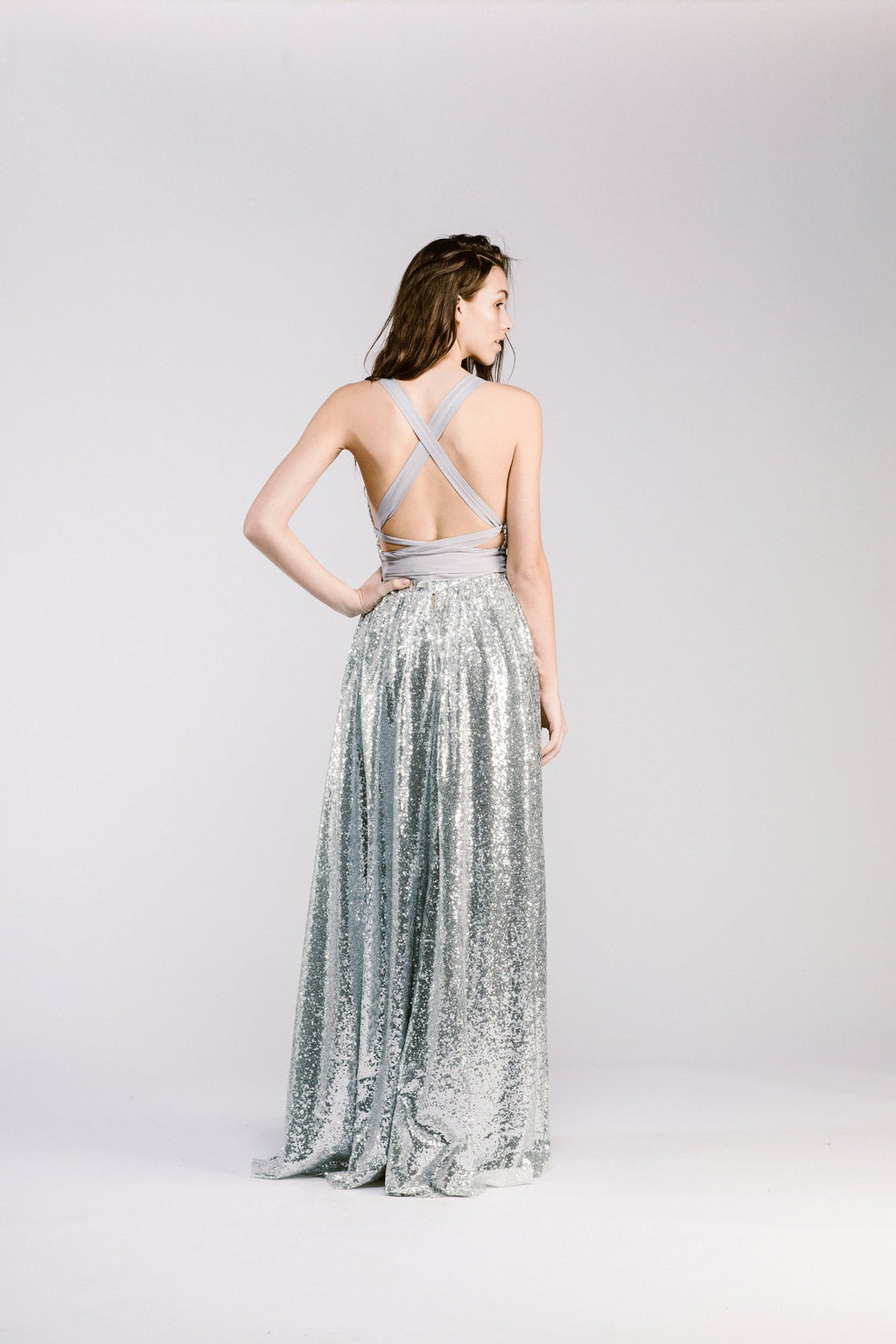 Sexy Slit Open Back Sparkle Silver Party Dress