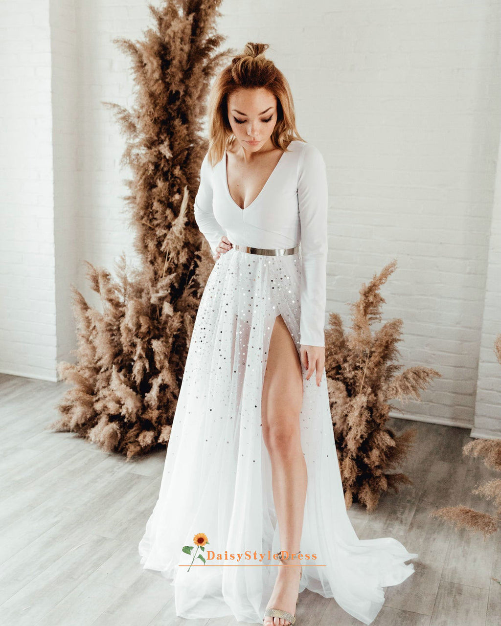 long sleeve engagement dress