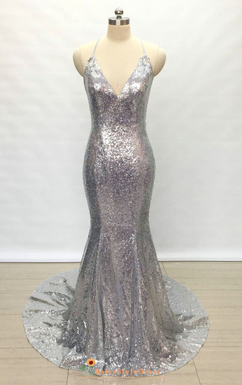 mermaid silver evening dress