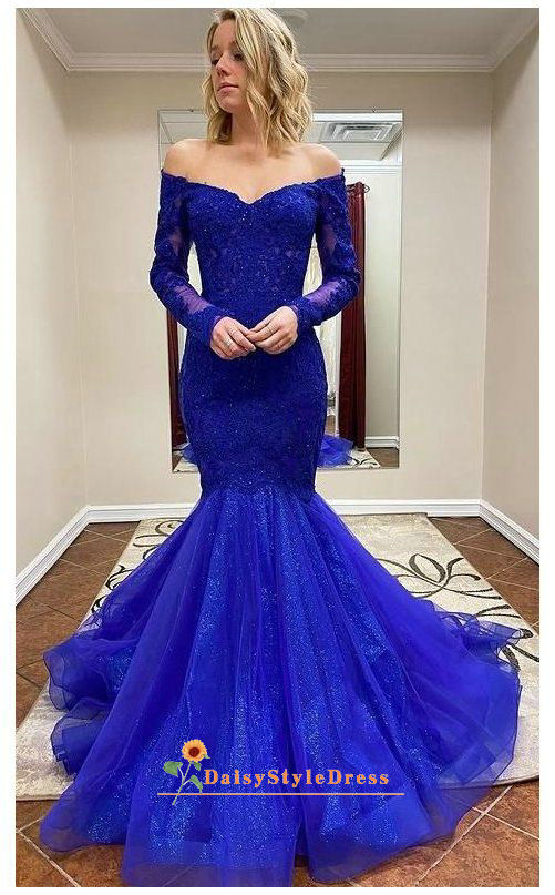 Mermaid Long Sleeve Royal Blue Sequins pageant dress