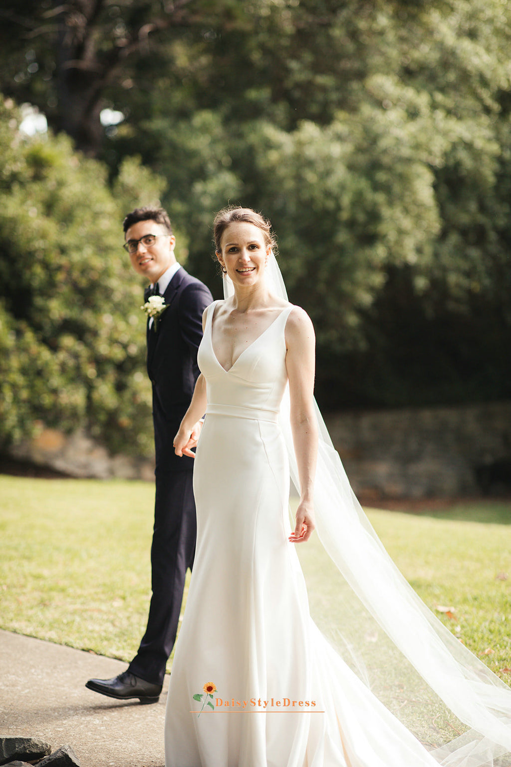 fitted v-neckline wedding dress