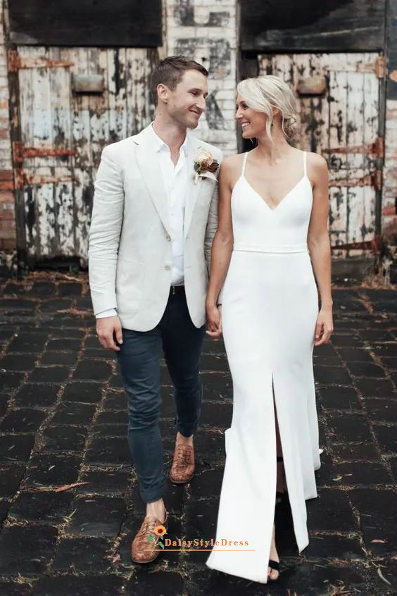 Slit wedding dress