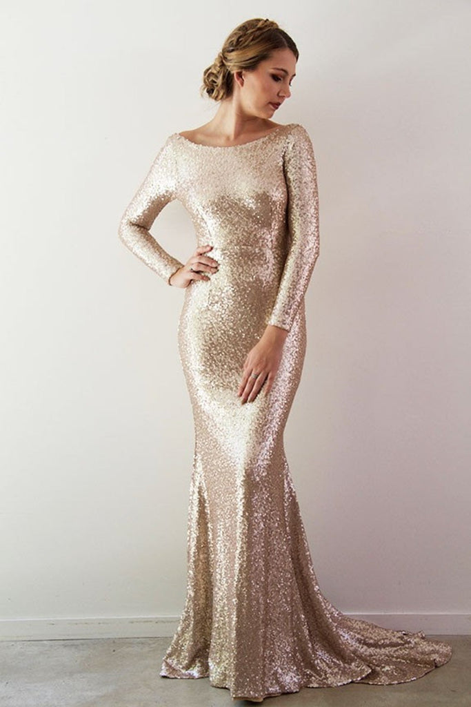 gold sequins evening dress