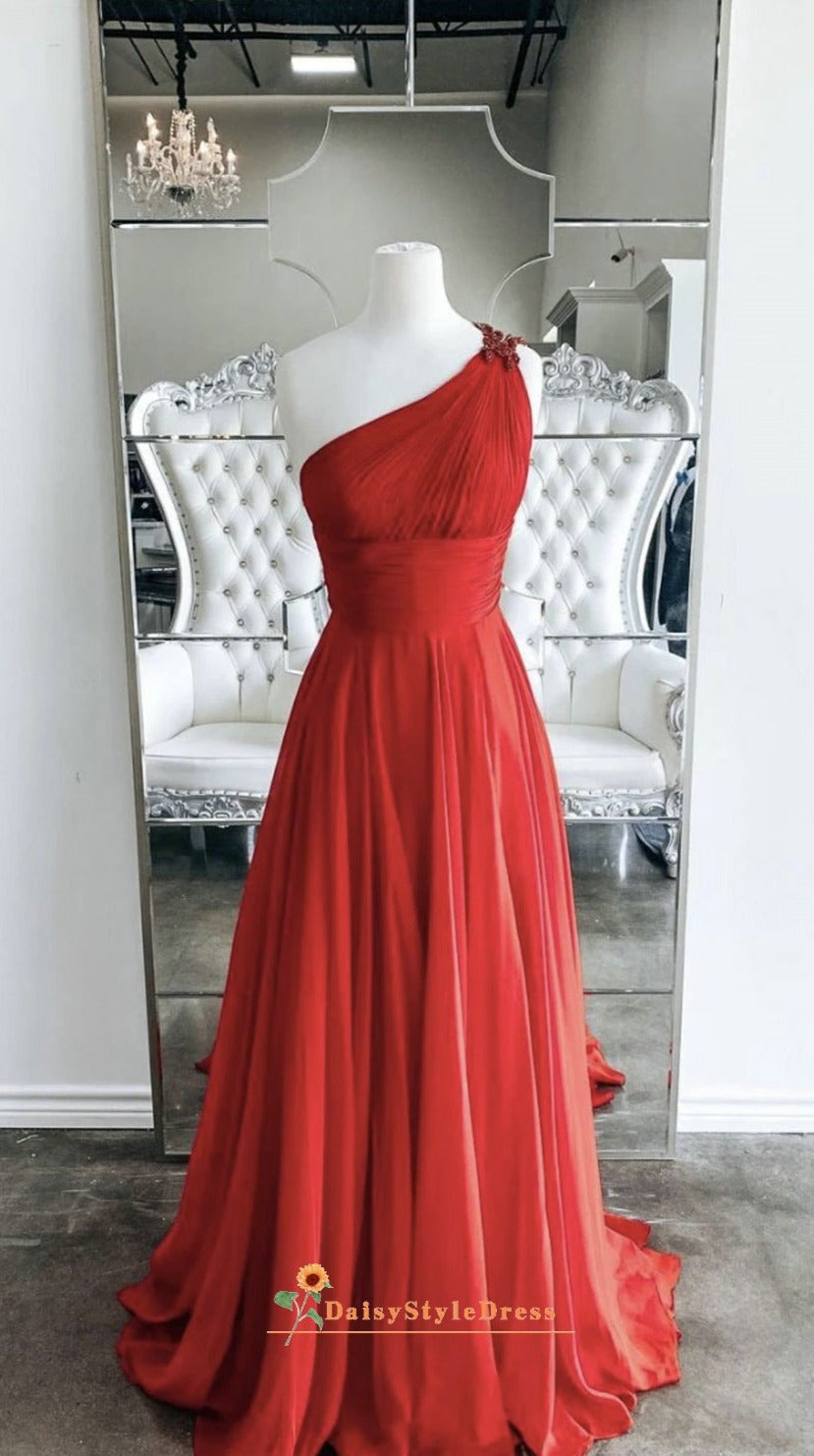 One Shoulder Red Pageant Dress