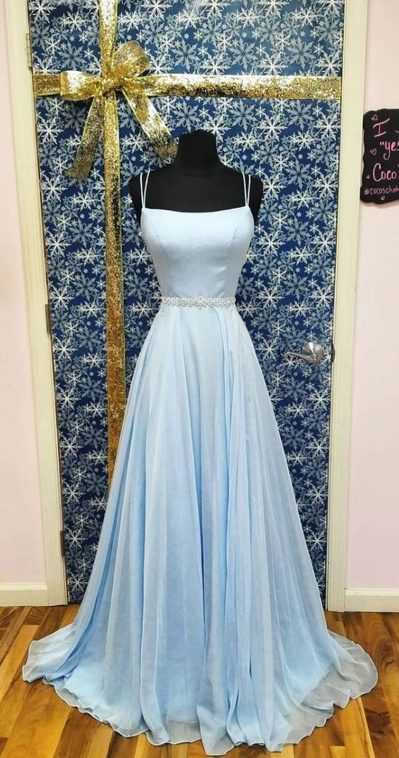 Double Straps Light Blue Prom Dress - daisystyledress