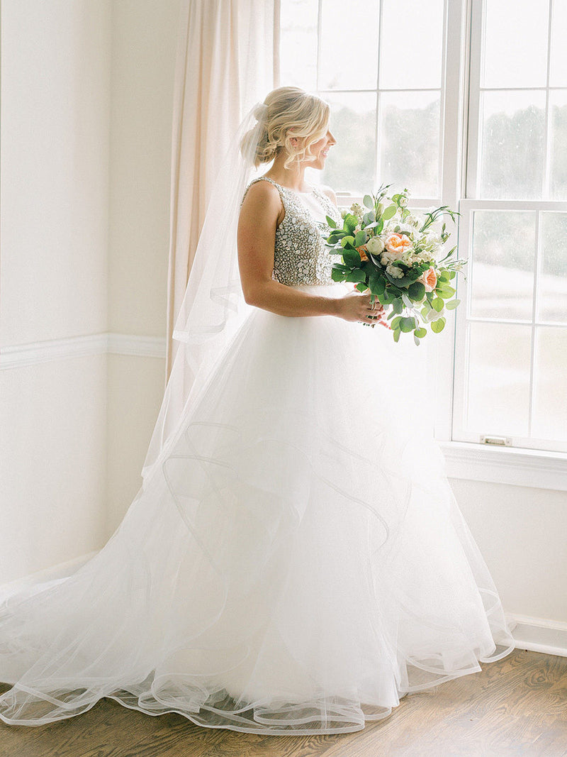 Ball Gown Beaded Wedding Dress with Tiered Skirt - daisystyledress