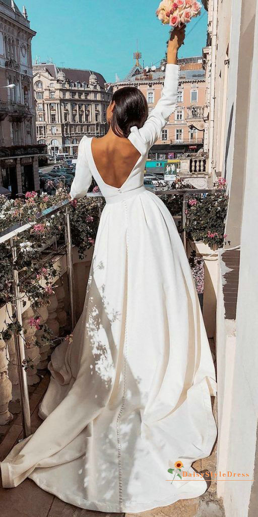 Sexy Low Back Long Sleeve Wedding Dress With Pocket - daisystyledress