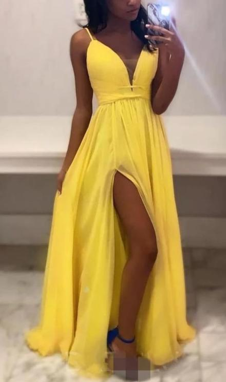 Spaghetti Straps Yellow Prom Dress