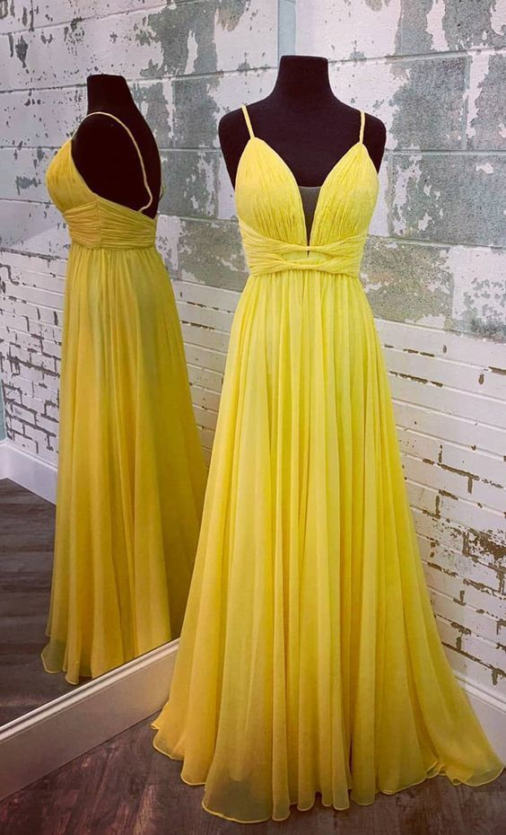 Spaghetti Straps Yellow Prom Dress - daisystyledress