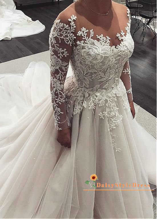 Fashion French Lace Long Sleeve Wedding Dress - daisystyledress