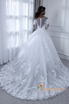 Discount Modest Long Sleeve Lace White Wedding Dress - daisystyledress