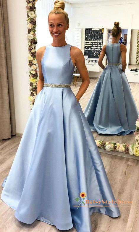Modest Blue Prom Dress with Pocket - daisystyledress