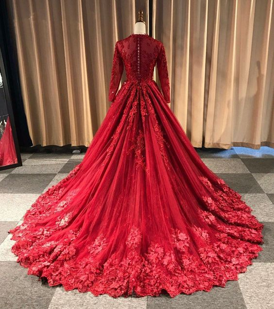 Modest Long Sleeve Red Lace Wedding Dress - daisystyledress