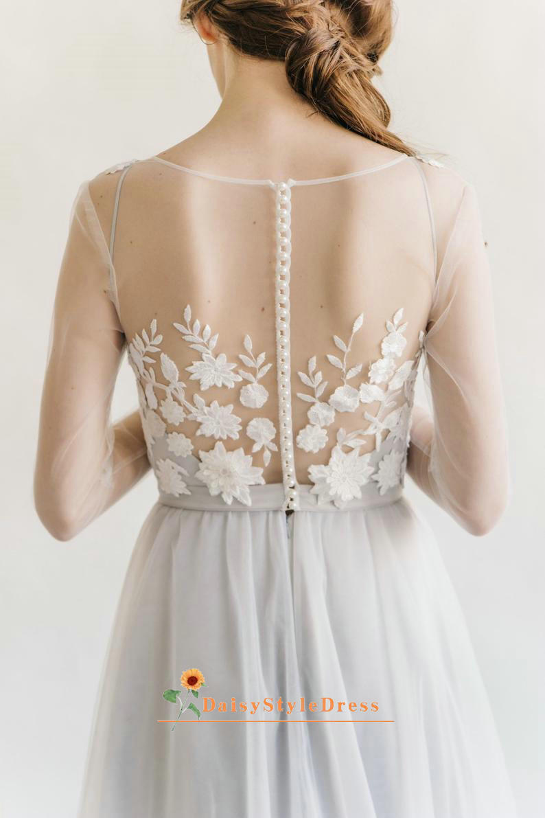 sexy illusion back wedding dress