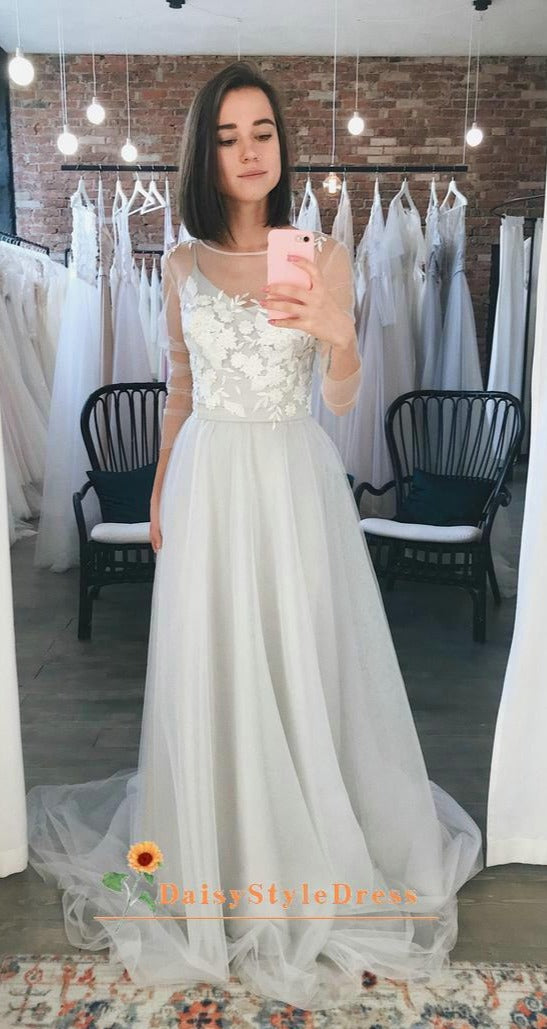 long sleeve boho wedding dress