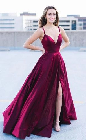 Criss Cross Back Burgundy Prom Dress - daisystyledress