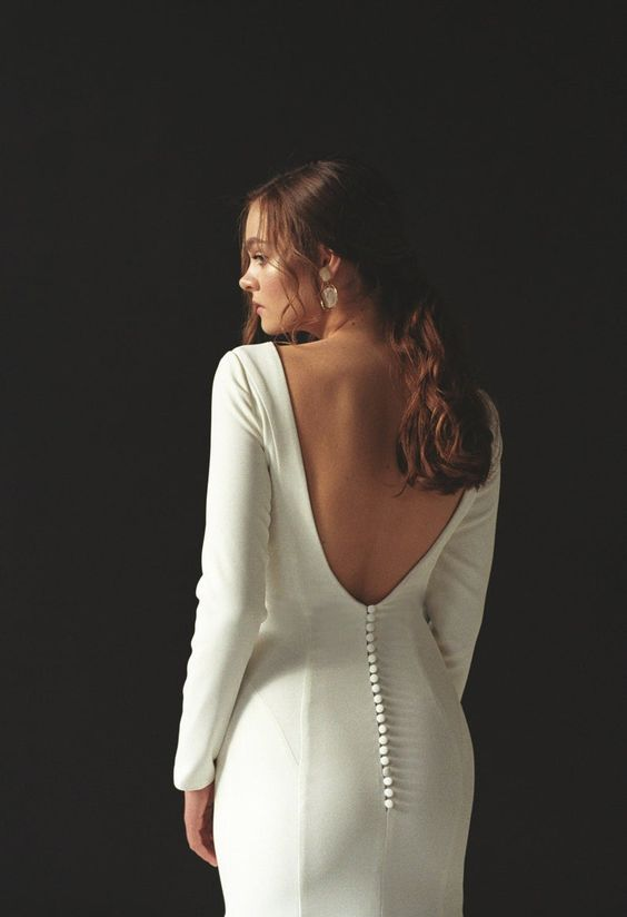 Fitted Open Back Long Sleeve Wedding Dress