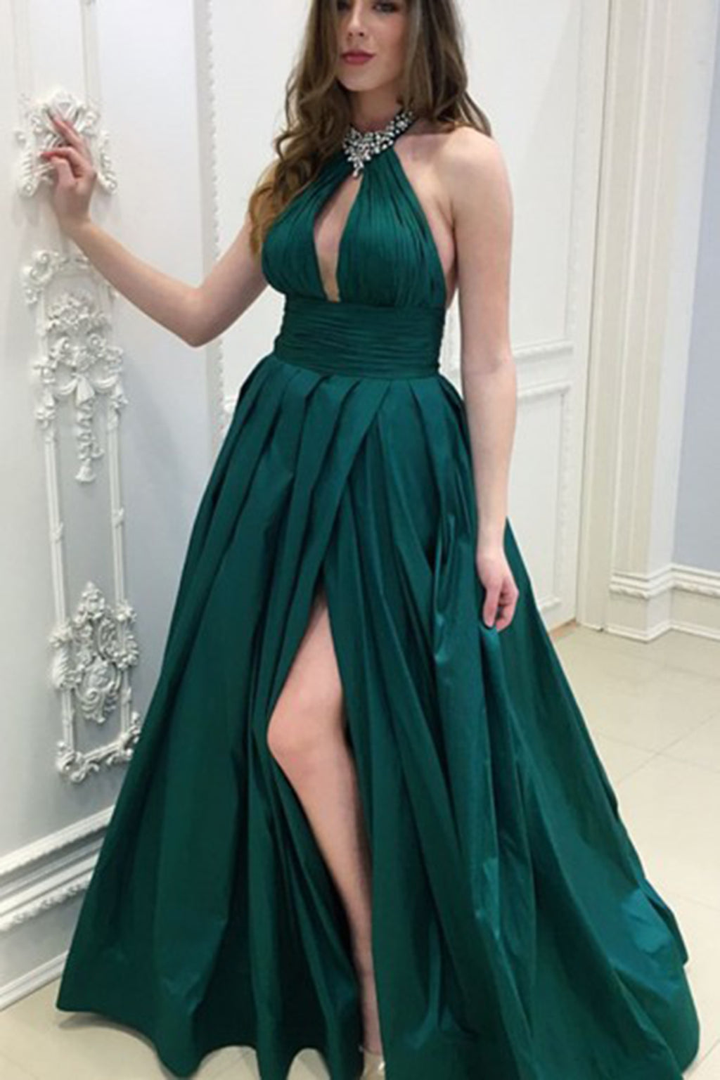 Sexy Slit Dark Green Evening Party Dress