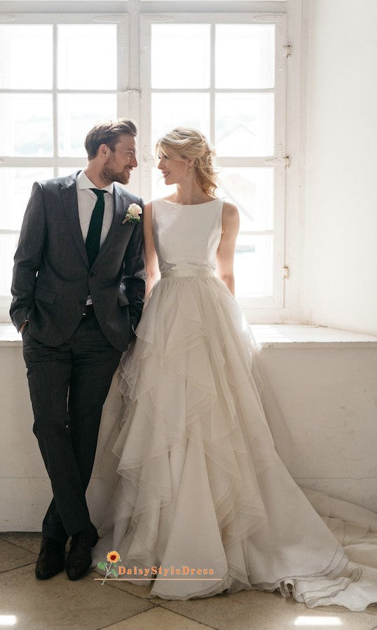 Boat Neckline Wedding Dress with Tiered Skirt