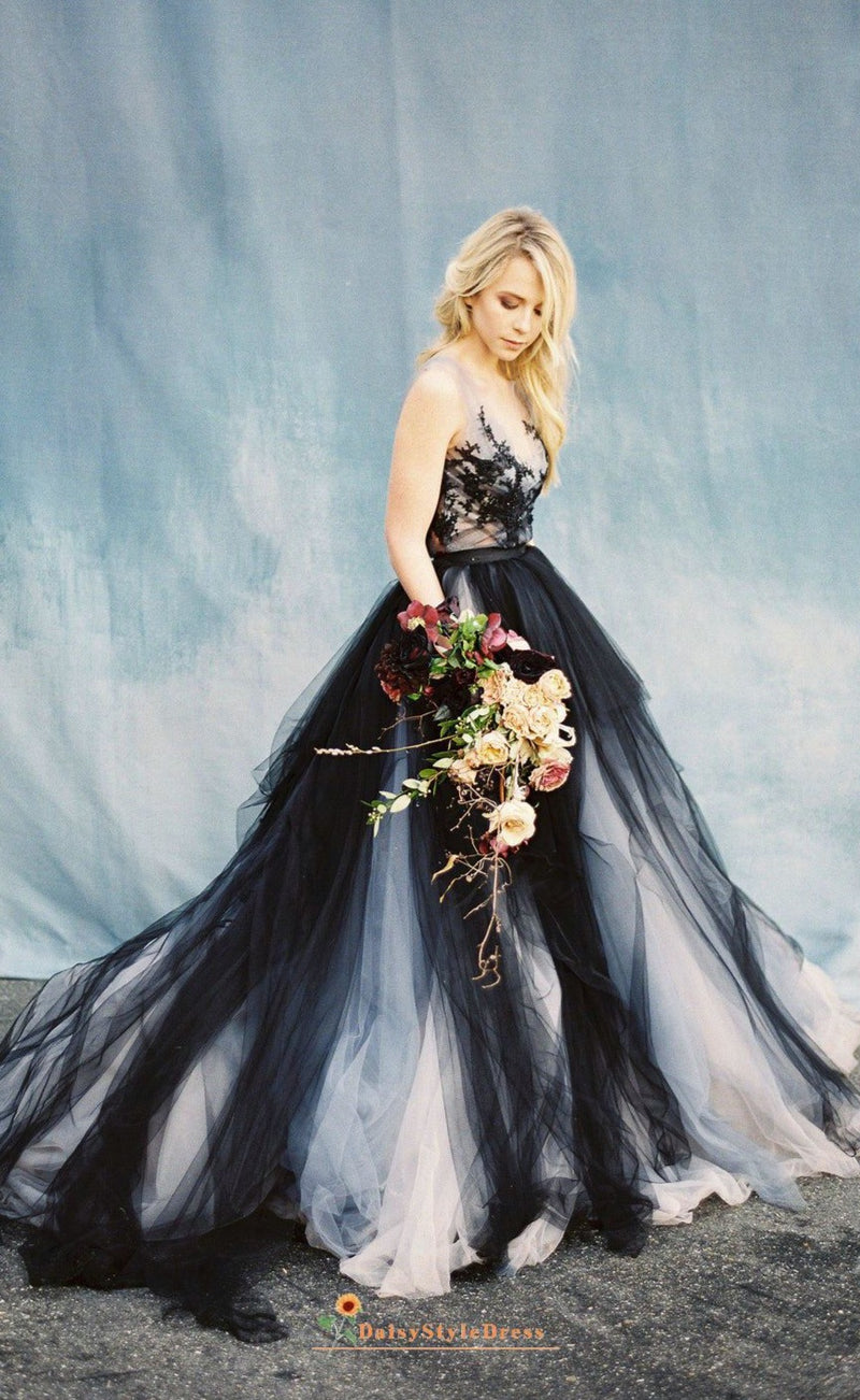 informal black wedding dress