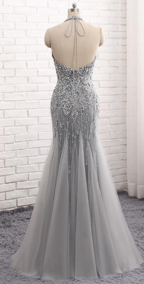 mermaid grey evening dress