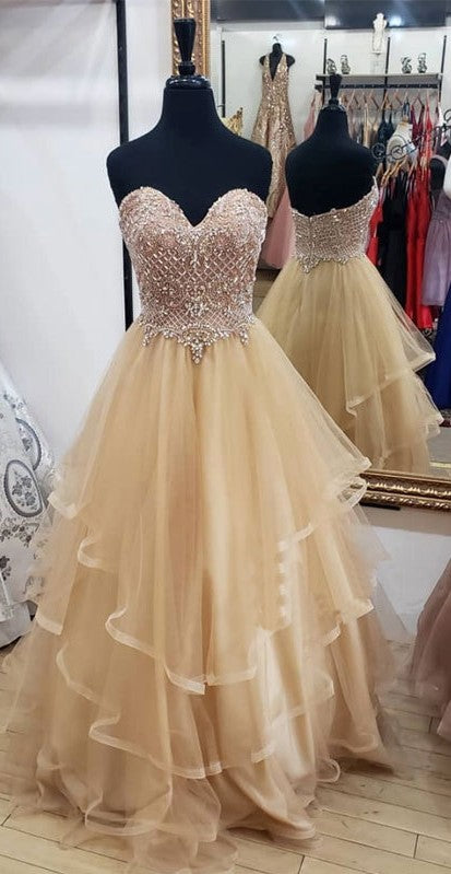 Ball Gown Beaded Champagne Prom Dress - daisystyledress