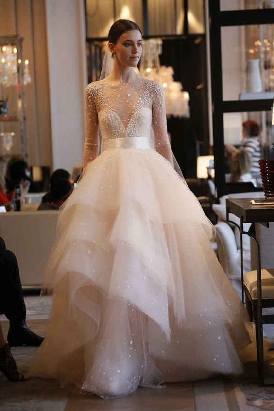 Beaded Long Sleeve Wedding Dress