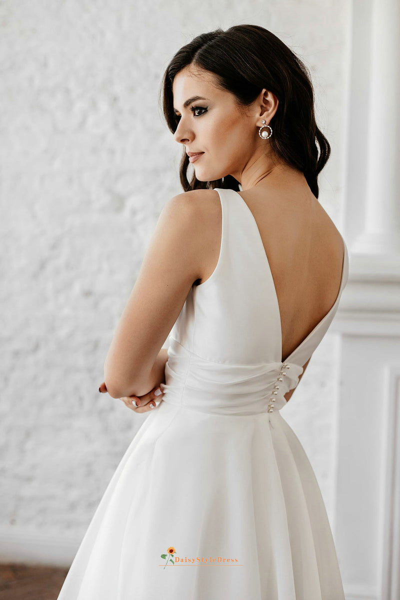 short v-back wedding dress