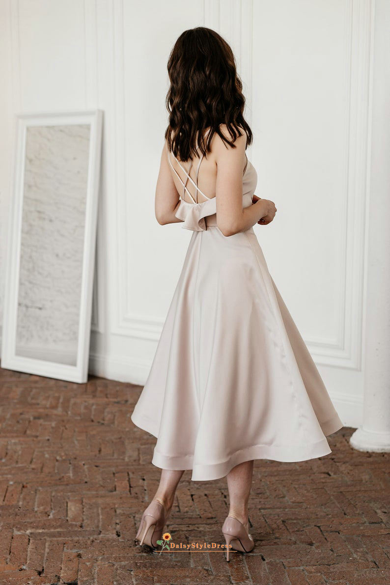 blush wedding party dress