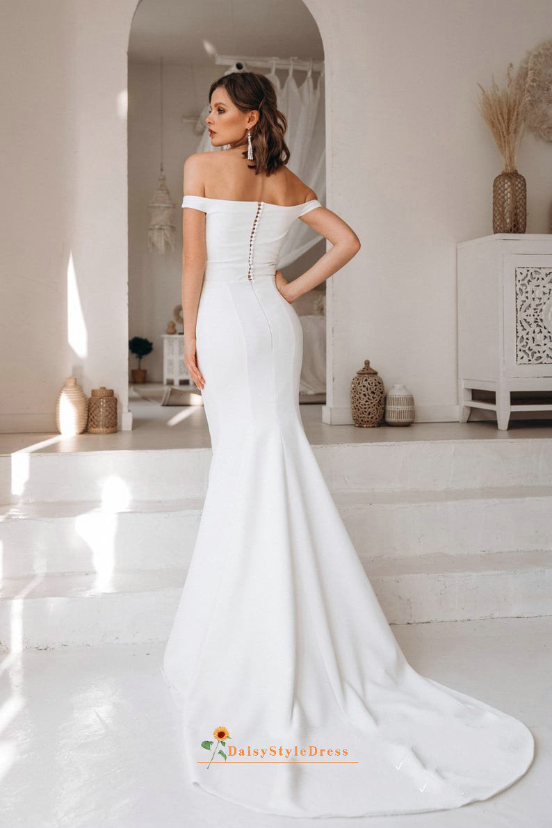 mermaid off shoulder straps wedding dress