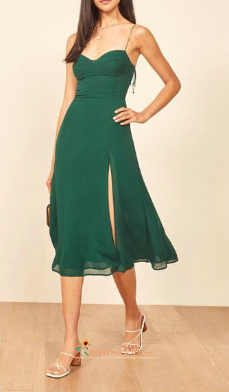 Tea Length Green Wedding Guest Dress