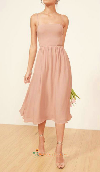 blush square neckline formal party dress