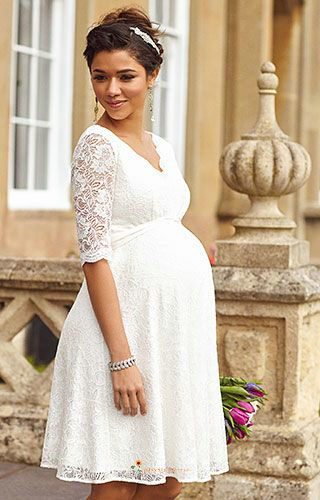 half sleeve short informal wedding dress