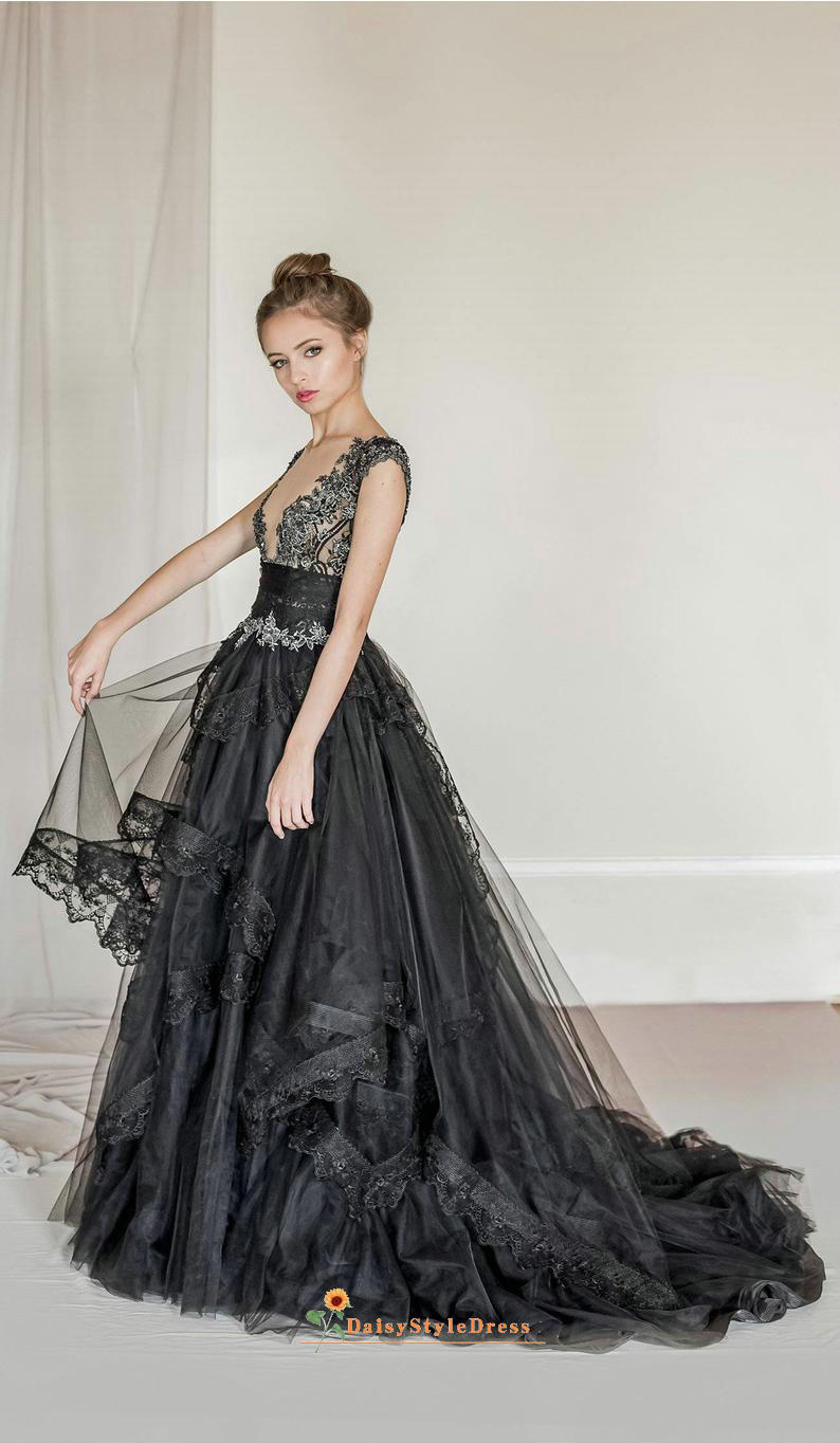 black v-neck wedding dress