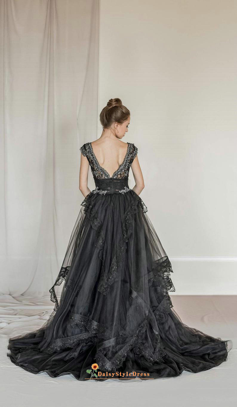 v-back black wedding dress