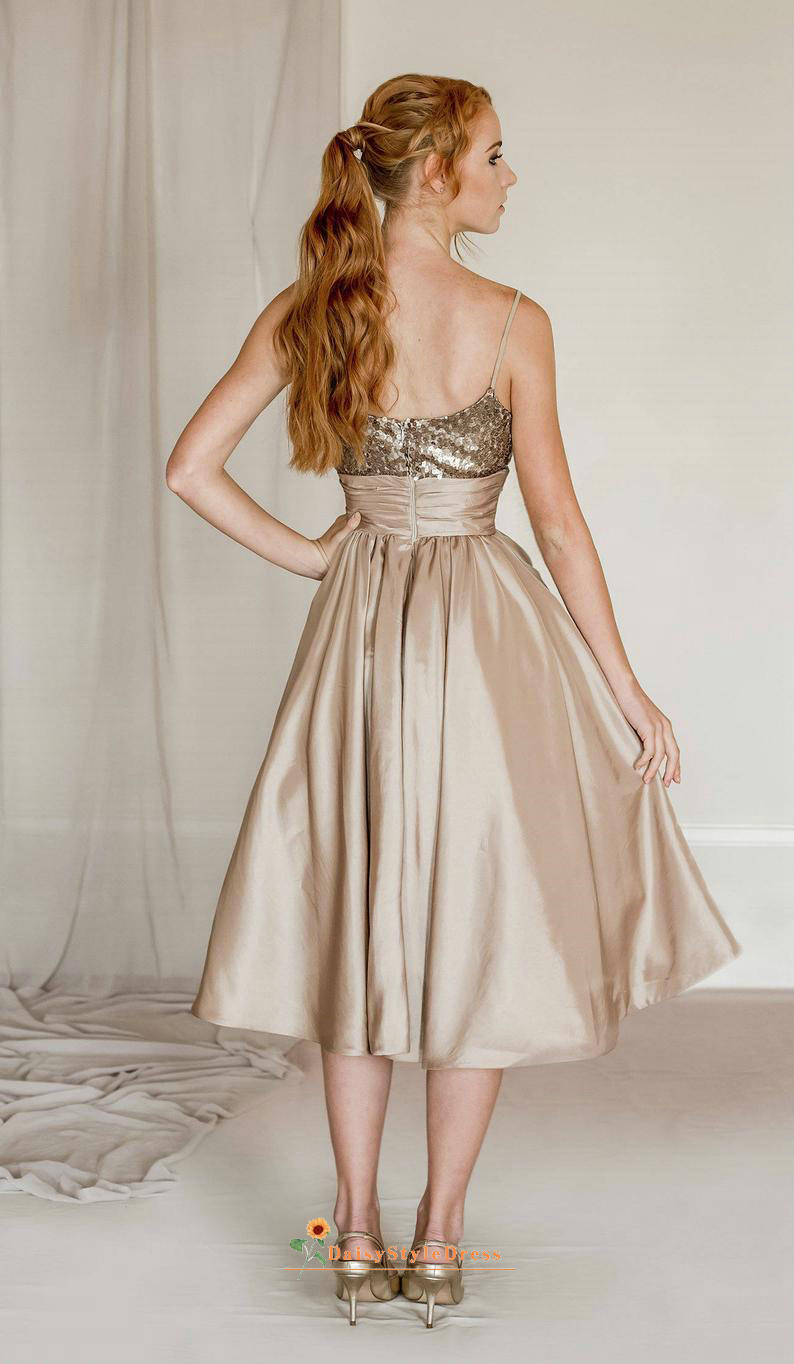 Short Square Neckline Champagne Dinner Party Dress