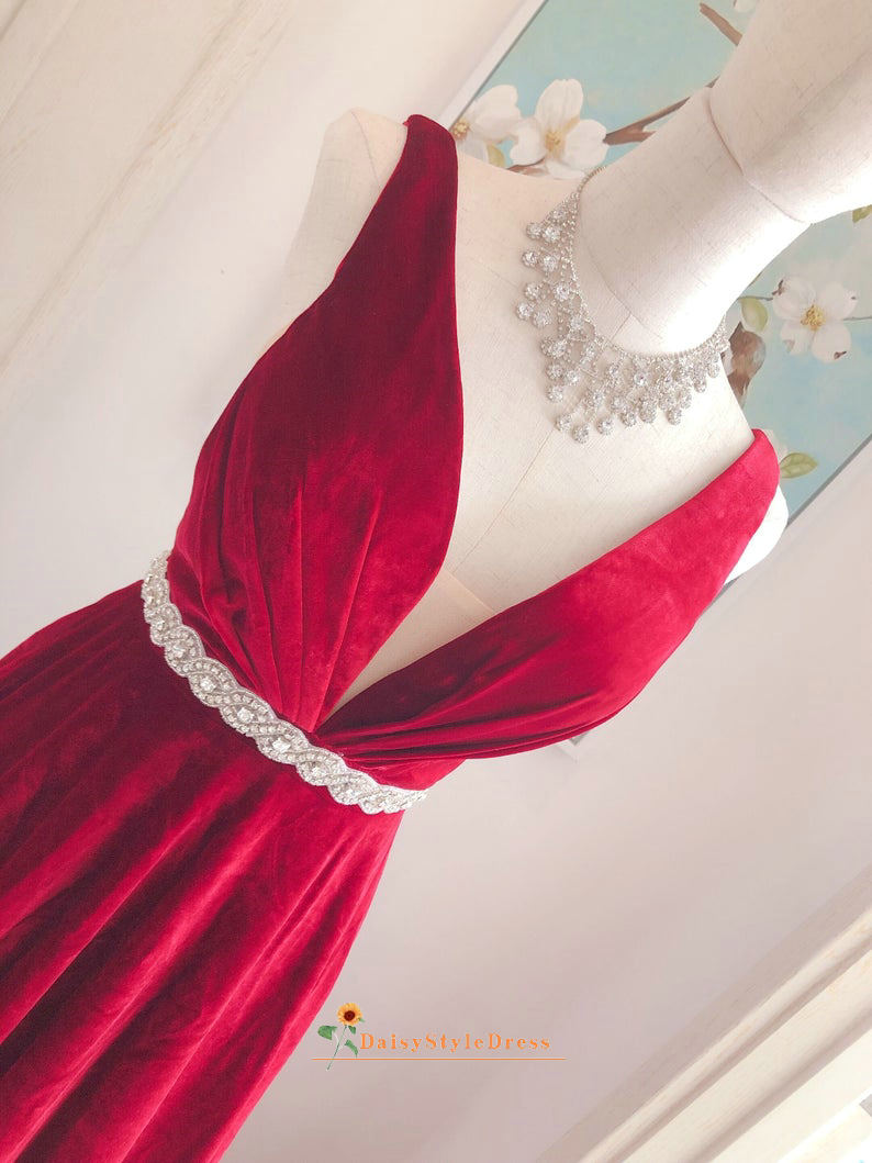 dark red wedding party dress
