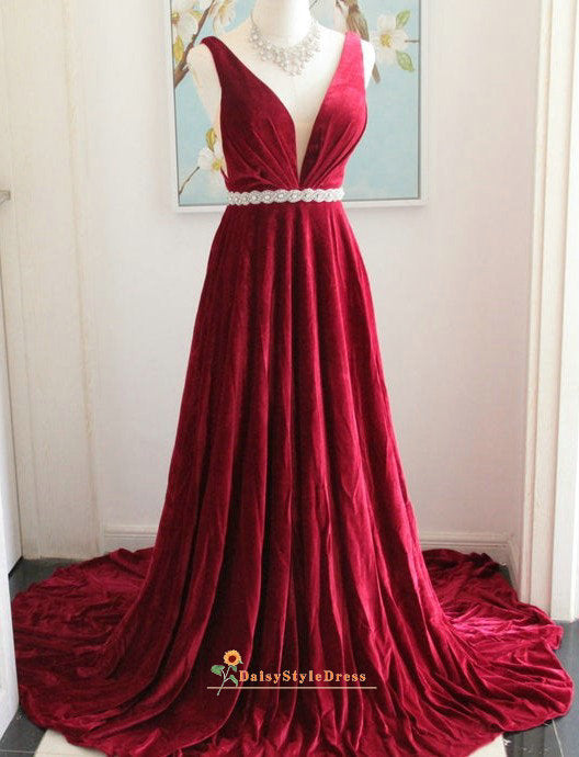 a line deep red evening dress