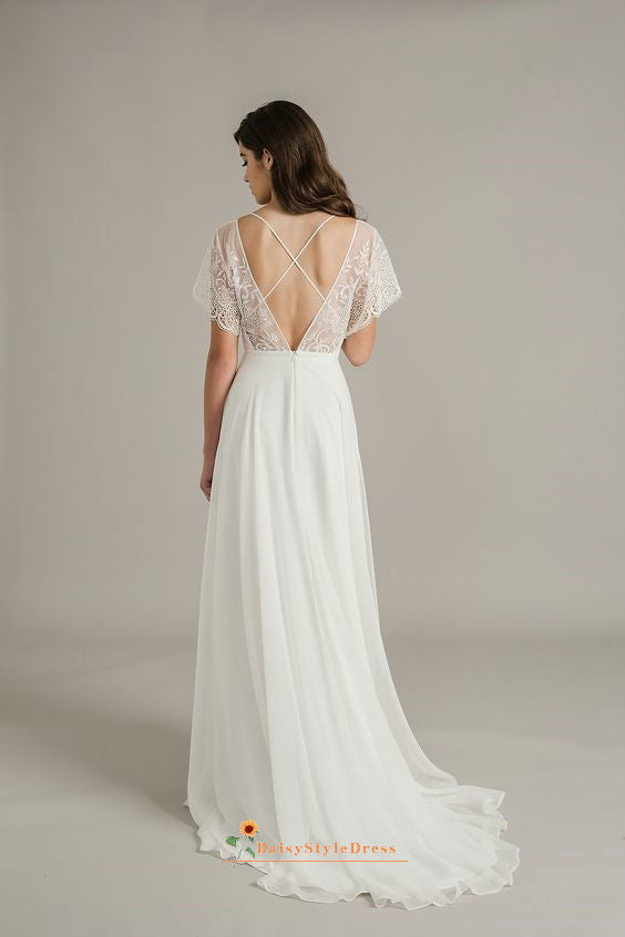 low v-back boho wedding dress
