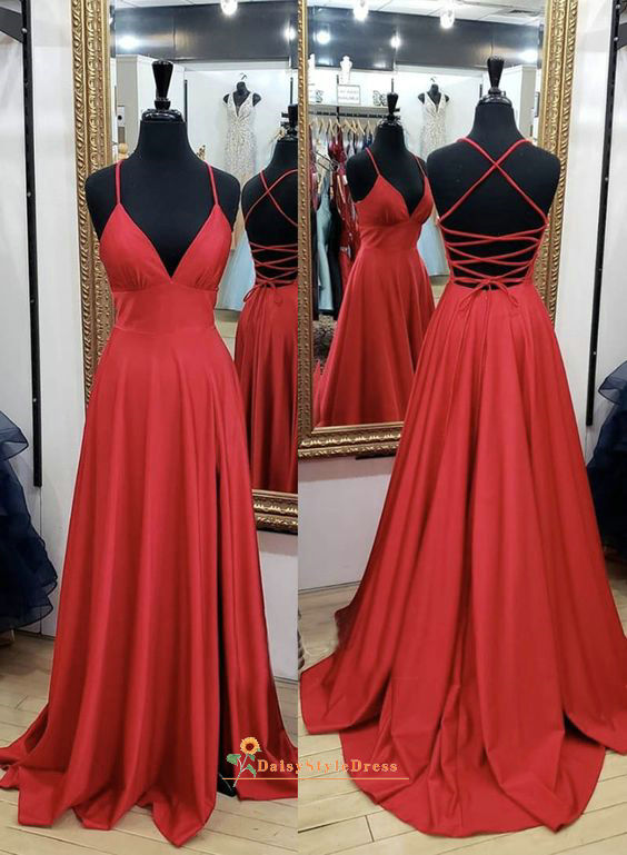 Criss Cross Back Dark Red Prom Dress