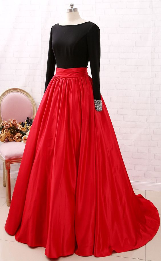 ball gown long sleeve prom dress