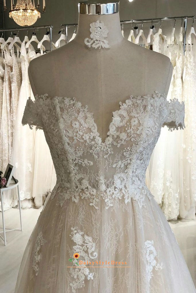 off shoulder sleeve boho wedding dress